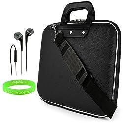 Cady Messenger Cube JET BLACK Ultra Durable Tactical Leather -ette Bag Case fits Microsoft Surface Pro 3 12