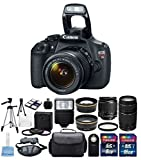 Canon EOS Rebel T5 DSLR Digital Camera with 18MP with USA Warranty with Canon EF-S 18-55mm f 3.5-5.6 IS II Zoom Lens (Image Stabilizer) & Canon EF 75-300mm f 4-5.6 III Telephoto Zoom Lens + 58mm 2.2X High Definition Telephoto Lens + 58mm High Definition Wide Angle Lens + Digital Camera Flash + 3 Piece 58mm Filter Kit + 8 & 16 GB Memory Card Class 10 + Complete Deluxe Accessory Bundle Set