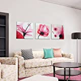 Cherish Art 100% Hand Painted Abstract Oil Paintings Pink Flowers with Charming Fragrance 3 Panels Bundle with Paper Cutting Wood Framed for Living Room Modern Wall Art Home Decoration-20x20Inchx3 Reviews