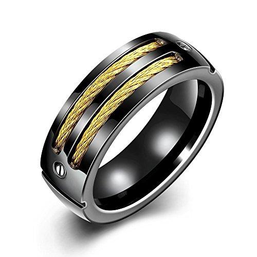 NYKKOLA 7 mm, in acciaio inossidabile con inserto nero in oro Bnad-Anello da uomo donna, 7-10, acciaio inossidabile, 58 (18.5), cod. XGTGR093-A-8