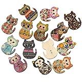 ネコ 50個セット ベビークラフト 木製 ソーイング ボタン ウッドボタン アソート 猫 (30x23mm)  ヒューイ雑貨