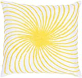 Rizzy Home T-3584 Decorative Pillows, 18 by 18-Inch, Yellow/White, Set of 2