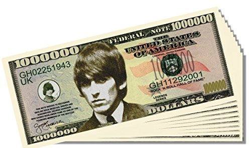 Beatles George Harrison Novelty Million Dollar Bill - 25 Count with Bonus Clear Protector & Christopher Columbus Bill - 1