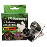 420 Microscope for Trichome and Spider Mites Identification on Cannabis Plants 60X-200X Magnification.