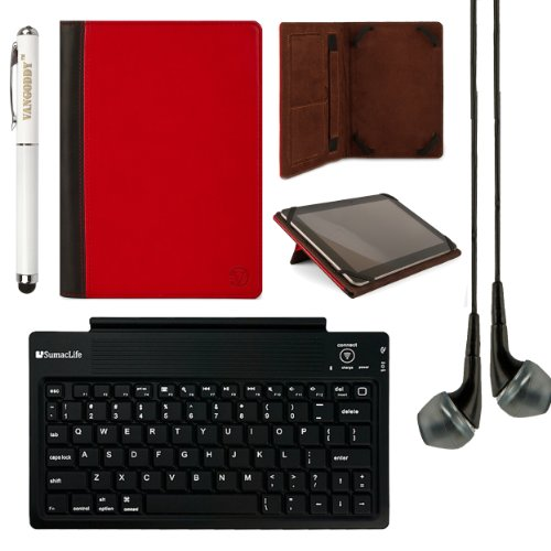 Mary Collection Leather Folio Case W/ Pop Stand For Samsung Galaxy Tab S 10.5 Inch Tablet + Bluetooth Keyboard + Laser Stylus Pen + Black Headphones (Red & Black) front-63364