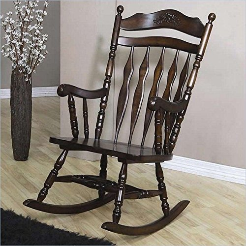 Brown Wood Rocking Chair With Carved Detail Indoor Nursery Living Room Rocker