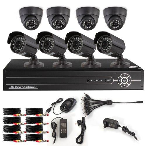 Bestselling Haus 8 Kanal CCTV H.264 DVR Aufzeichnungsgerrät 8 Nachtsicht Sicherheit Überwachungskamera Überwachungssystem Set