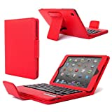 Poetic KeyBook Removable Bluetooth Keyboard Case for iPad Mini Red (With Auto Sleep/Wake Function) (3 Year Warranty from Poetic)