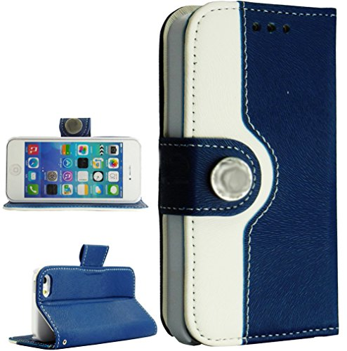 Mylife Prussian Blue And White - Modern Design - Textured Koskin Faux Leather (Card And Id Holder + Magnetic Detachable Closing) Slim Wallet For Iphone 5/5S (5G) 5Th Generation Smartphone By Apple (External Rugged Synthetic Leather With Magnetic Clip + In