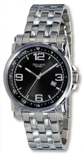 Bellagio Men's San Giacomo Series All Stainless-Steel Black Sun-Ray Dial Date 5 ATM Bracelet Watch # 12015-2S