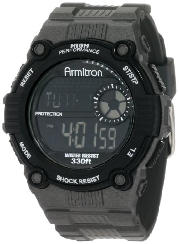 Armitron Men's 408218GRY Chronograph Black and Gray Resin Digital Sport Watch