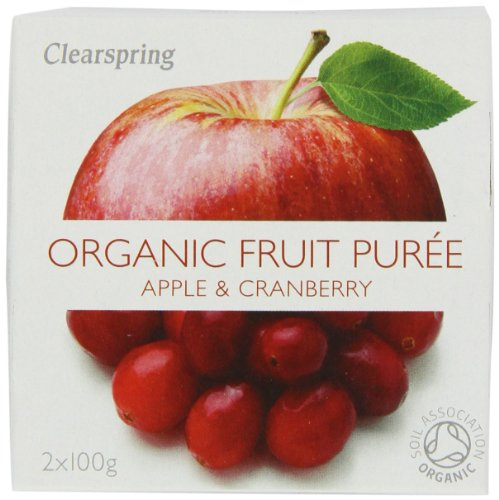 Clearspring Organic Apple and Cranberry Fruit Puree 2 x 100 g (Pack of 12)