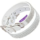 "Posh Petz® Diamante Bling Crystal Rhinestone Luxury Dog Collar - White (S 8.5-12"" (22-30cm))"