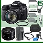 Canon EOS 70D Digital SLR Camera Kit with 18-135mm IS STM Lens and Canon 50mm f/1.8 Lens + 16GB Green's Camera Package 1