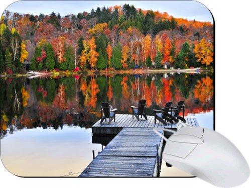 Rikki Knighttm Wooden Adirondack Chairs On Dock On Autumn Lake Lightning Series Gaming Mouse Pad front-607291