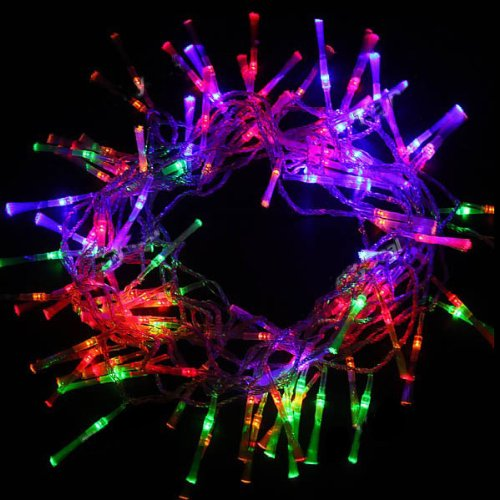 100 Led Fairy Light String Fiber Optic Holiday Lights For Chirstmas Party 10M (Multi-Colored)