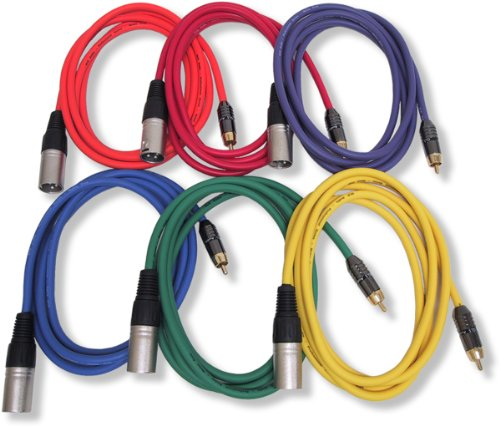 Gls Audio 6Ft Patch Cable Cords - Xlr Male To Rca Colors Cables - 6' Pro Series Cord - 6 Pack