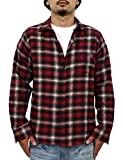 (リアルコンテンツ)REAL CONTENTS チェック シャツ メンズ オンブレチェックシャツ 長袖 大きいサイズ トップス カットソー rc7358 (XXL, RED)