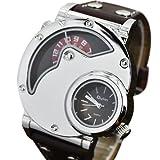 LEORX Oulm Sports Steel Case PU Band Dual Time Mens Quartz Analog Wrist Watch Black