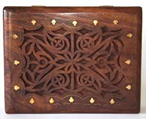Large Celtic Wooden treasure chest trinket box