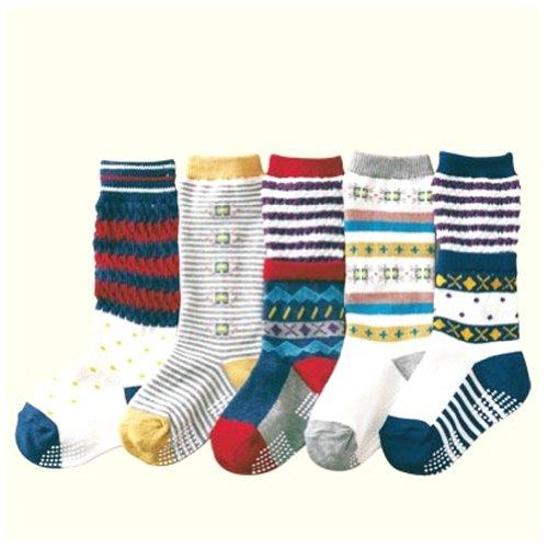 Deer Mum Boy'S Stripe Pattern Winter Cotton Socks 5 Pairs front-131891