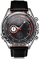 Black Dial Japanese Quartz Movement Leather Strap Watch Graduation Gift with Box