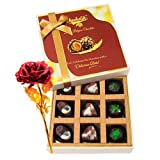 Valentine Chocholik's Luxury Chocolates - Affection Combination Of Assorted Chocolates With 24k Red Gold Rose