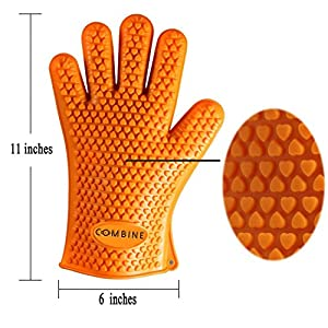 COMBINE Cooking Gloves Heat Resistant Oven Mitt for Grilling, BBQ, Kitchen Safe Handling of Pots and Pans - Cooking & Baking Non-Slip Potholders