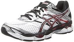 ASICS Men\'s Gel-Cumulus 16 Running Shoe,White/Black/Red,8.5 M US