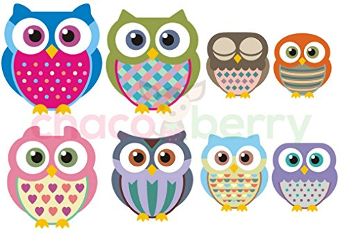 Owl Happy Family Wall Decals, High Quality Fabric Kids Baby Nursery Room Wall Stickers - Sticks to Any Surface, Peels Off Clean, Reusable, Easy to Install