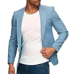 テーラードジャケット メンズ ブルー 青 薄地 ブレザー 春夏 タイト 細身 1ボタン