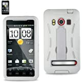 HTC Evo 4G Case - Nabster Double Layer 2 in 1 Impact Resistant Hybrid Case with Built-in Kickstand for HTC Evo 4G/HTC Supersonic/ A9292 / PC36100 (Sprint) (WHITE/WHITE)