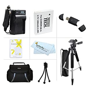 Essential Accessories Bundle Kit For Canon PowerShot SX170 IS, SX520 HS, SX530HS, SX530 HS Digital Camera Includes Extended Replacement (1200maH) NB-6L Battery + AC/DC Travel Charger + USB Reader + Deluxe Case + 57 Tripod w/Case + Screen Protectors + More
