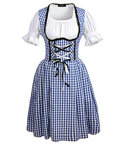 DJT Women's 3 Pcs Dirndl Serving Wench Bavarian Beer Girl Oktoberfest Adult Costume