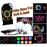 Kids LED Glow POI Set + Travel Bag! SOFT & SAFE Light Weight Multi Functioning Glow LED Poi Set (incl.Batteries)