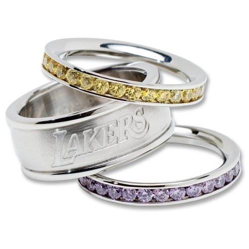Los Angeles Lakers Logo Crystal Stacked Ring Set (Size 7) Logo Art Rings autotags B0031R5NNI