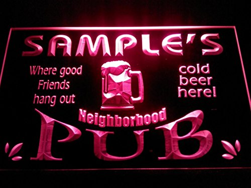 C B Signs Custom Personalized Led Sign Neighborhood Pub Bar Man Cave Neon Light Sign - Great Personalized Gift Idea! - Red