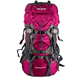 WASING 55L Internal Frame Backpack Hiking Backpacking Packs for Outdoor Hiking Travel Climbing Camping Mountaineering with Rain Cover WS-55Lpack-red (Color: Fuchsia)
