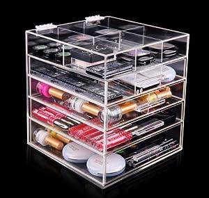 betterlife bo te de rangement pour maquillage en acrylique 5 tiroirs fait la main transparent. Black Bedroom Furniture Sets. Home Design Ideas