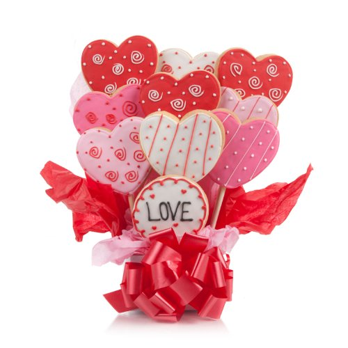 Lovely Hearts Cookie Bouquet- 9 Pc Bouquet