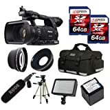 Panasonic AG-AC160APJ AC160 HD Camcorder + Rode NTG1 Mic + Panasonic Battery + Two 64GB (10) Cards + 0.45X Wide Angle Lens + 2x Telephoto Lens + Case + Tripod + Led Light + Travel charger + UV + CPL Filter