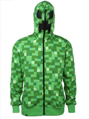 Official Minecraft Creeper Premium Zip up Hoodie Jacket Costume Adult Medium