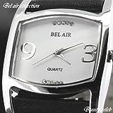オシャレスタイル♪ブラックレザー腕時計(ホワイト&ブラック)OSD5-WHBK