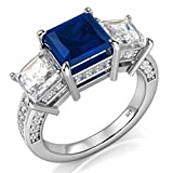 Sz 9 Sterling Silver 925 Princess Cut Blue & White Cubic Zirconia CZ Engagement Ring