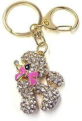 Swarvoski Crystal Pink Fuchsia Bow Poodle Keychain