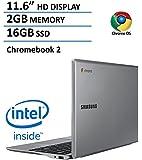 """2016 Latest Samsung Chromebook 2 (Intel Celeron 2.16GHz, 2GB RAM, 16GB SSD, 11.6"""" HD Display, Webcam, Bluetooth, HDMI, USB 3.0, 802.11ac, 0.66"""" Thin, 9 Hrs Battery, 10 sec boot up, 100GB Web Storage)"""