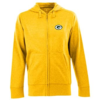 NFL Men's Green Bay Packers Full Zip Signature Hooded Sweatshirt (Gold, XX-Large)
