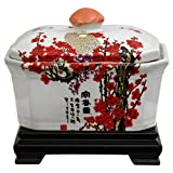 Oriental Furniture Unique Beautiful Gifts for Mom/Mother, 8-Inch Asian Porcelain Tea Jar, Cherry Blossom