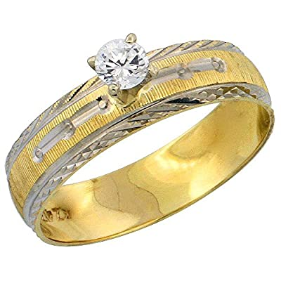 10k Gold Solitaire Diamond Engagement Ring 0.10 ct Diamond-cut Pattern Rhodium Accent, 3/16 in. (4.5mm) wide, Sizes 5 - 10