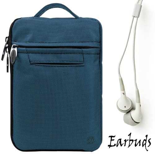 "Blue Durable Nylon Protective Carrying Cover Sleeve Case For Pandigital Nova - 7"" Media Tablet + Includes A Crystal Clear High Quality Hd Noise Filter Ear Buds Earphones Headphones ( 3.5Mm Jack )"